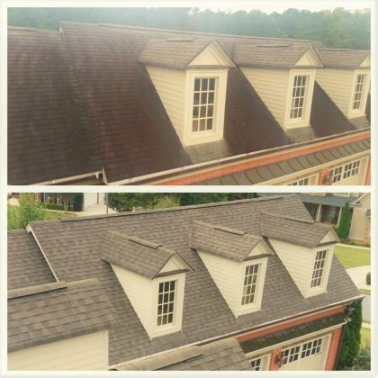 Roof wash before and afternew